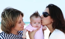two mothers with a baby on the beach
